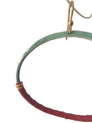 HOOP EARRINGS PATINA AND RED LEATHER SMALL LARGE