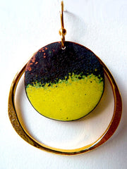 Earrings Medium Hoop Yellow Enamel By Sibilia