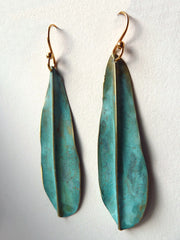 Earrings Patina Long Leaf By Sibilia
