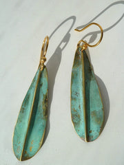 Earrings Gold On Brass Small Leaf By Sibilia