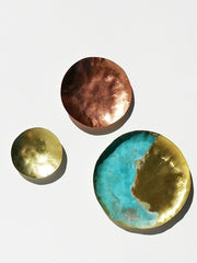 Small Nesting Tray Set Brass Copper Patina