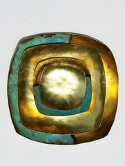 Square Nesting Plate Set Patina and Gold Plate on Brass