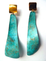 Earrings Patina Long Swirl By Sibilia