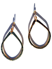 Earrings Teardrop In Gold Plated Hammered Brass
