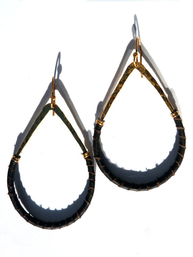 Earrings Teardrop Gold Plated Brass And Leather