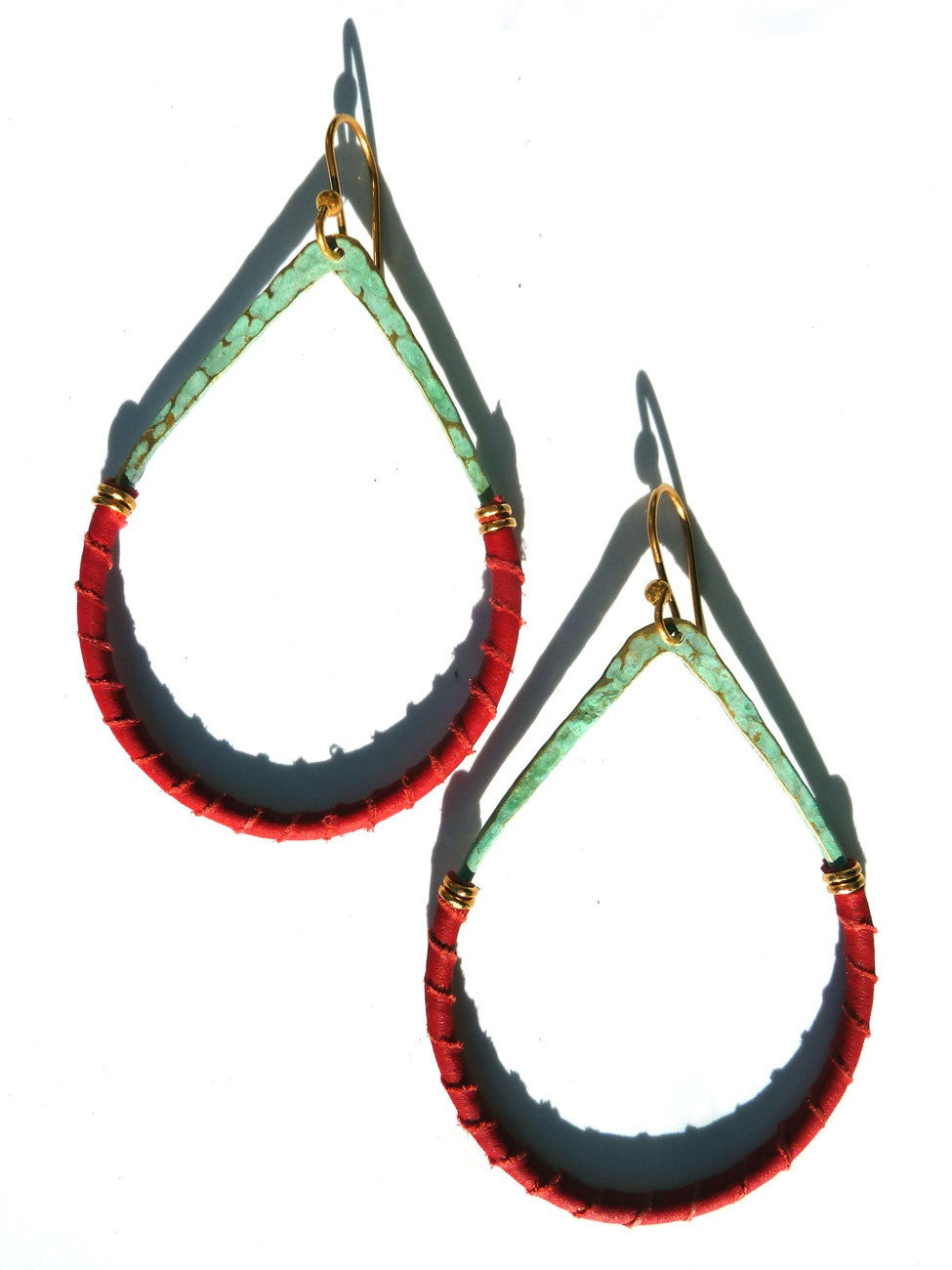 Earrings Teardrop Patina On Brass And Red Leather