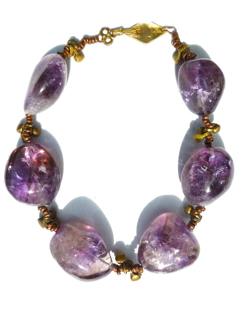 Necklace Enormous Ametrine With Vintage African Charms