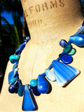 Necklace Mix Of African And Czech Glass Blue and White