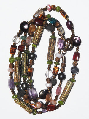 Necklace Semiprecious Mix And Vintage African Brass Double Length