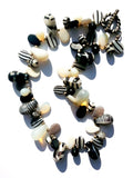 Necklace Mix Of African And Czech Glass Black and White