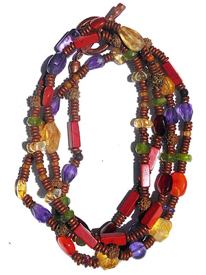 Necklace Copper And Semiprecious Mix Double Length