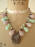 Necklace Rose Quartz Tourmaline Chalcedony And Pendant