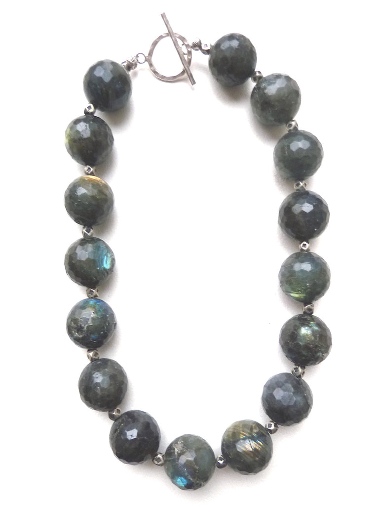 Necklace Faceted Labradorite And Sterling Silver