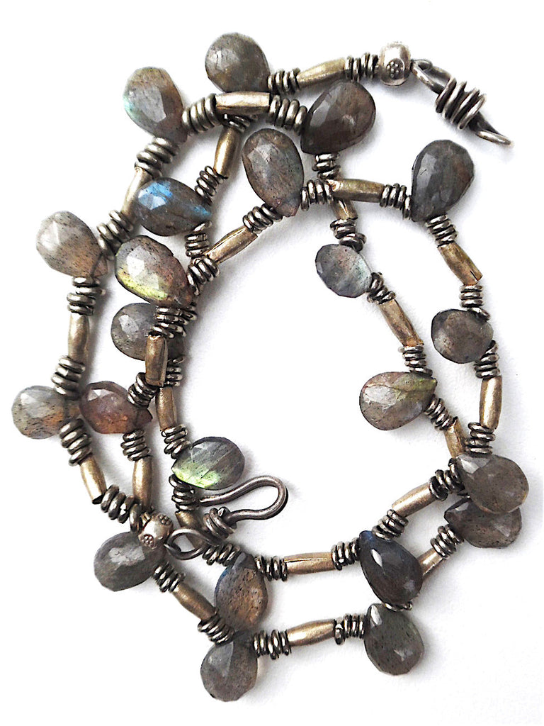 Necklace Labradorite Briolet and Sterling Silver