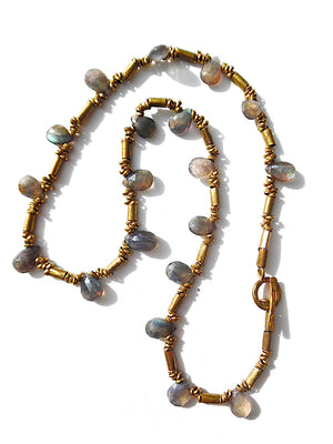 Necklace Labradorite Briolet and African Gold on Brass