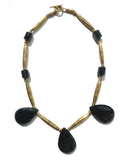 Necklace Faceted Labradorite Teardrops and Vintage African Brass