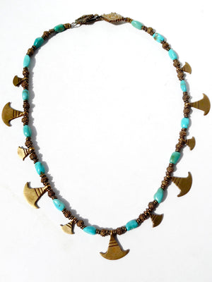 Necklace Turquoise And Vintage African  Ooloo Brass
