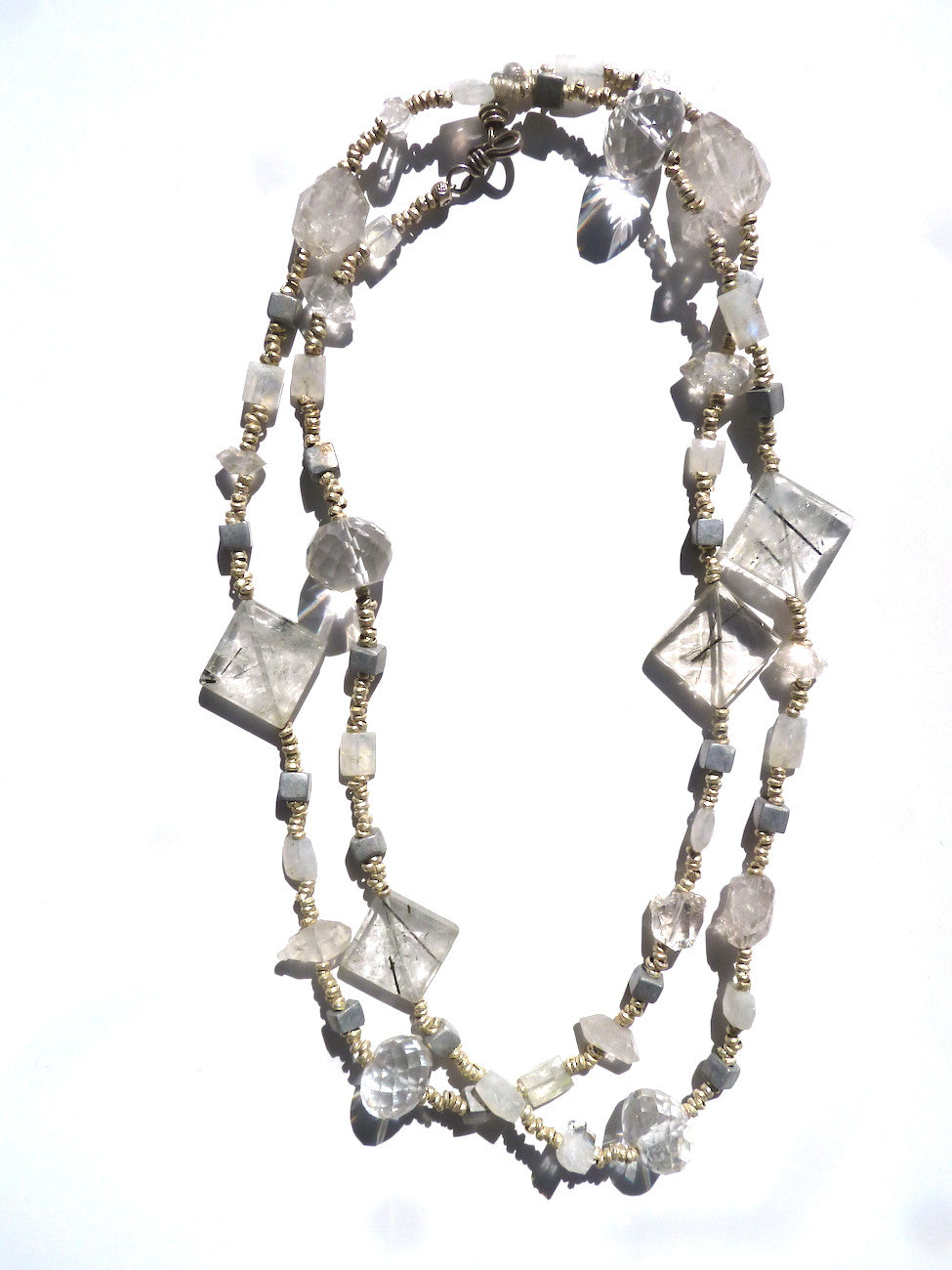 Necklace Quartz Crystal Moonstone And Sterling Silver