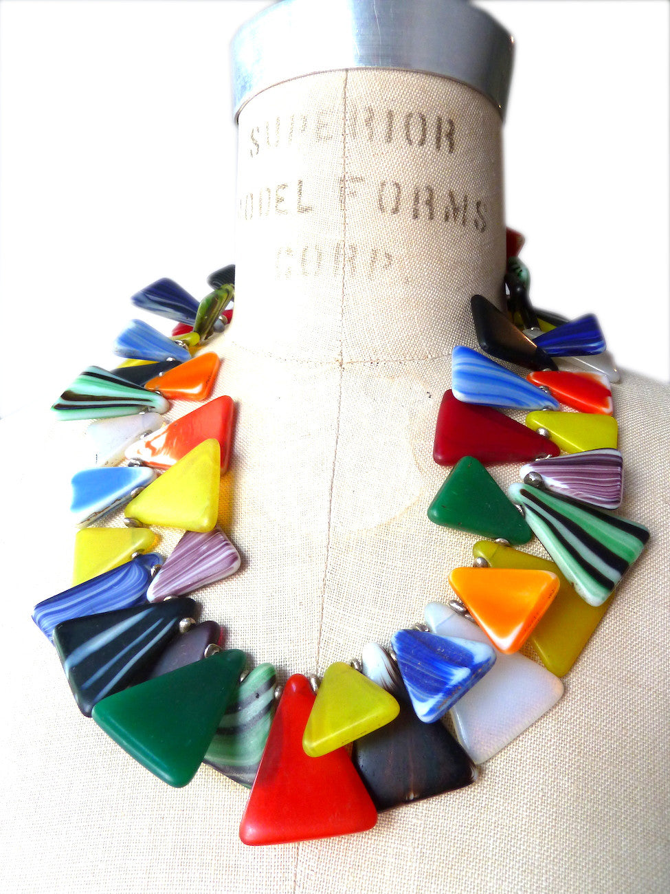 Necklace African Glass Triangles