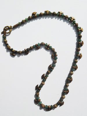 Necklace Tourmaline And Vintage African Brass Ooloo