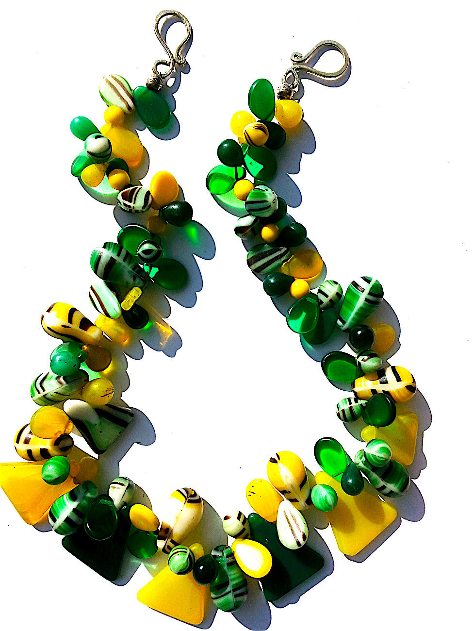 Necklace Mix Of African And Czech Glass Yellow and Green