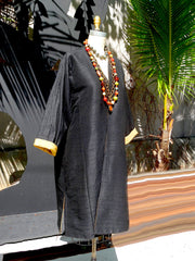 Silk Suzani Coat Reversible Black And Camel