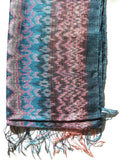 Thai Raw Silk Ikat Shawl Grey And Teal And Pink