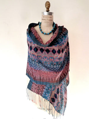 Thai Raw Silk Ikat Shawl Grey Teal And Pink