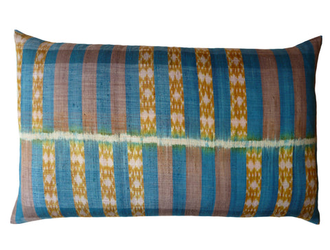 Thai Silk Modern Ikat King Size Pillows Sold As Pair Teal Gold Bars
