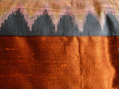 Thai Silk Modern Ikat King Size Pillows  Sold As Pair Burnt Orange