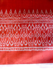 Silk Ikat Textile Wall Hanging Throw Burgundy Silver