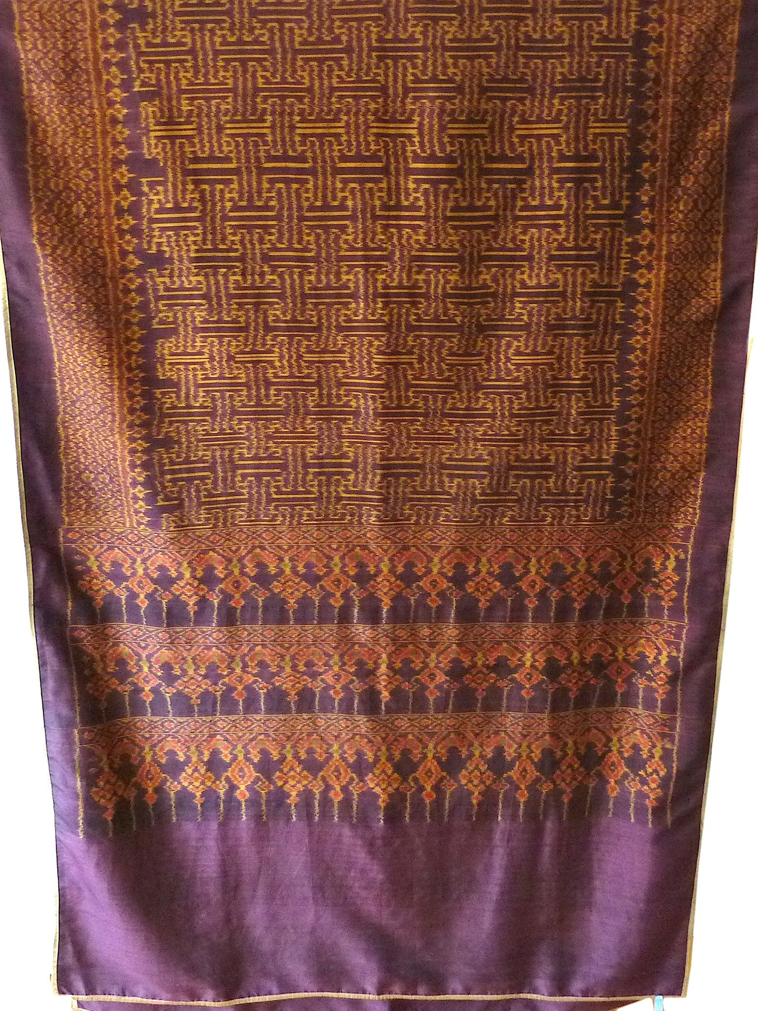 Silk Ikat Textile Wall Hanging Throw Purple Gold