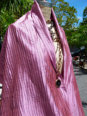 Thai Silk Pintuck Pleated Shawl Amethyst