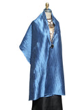 Thai Silk Pintuck Pleated Shawl Cobalt