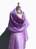 Thai Silk Pintuck Pleated Shawl Lilac