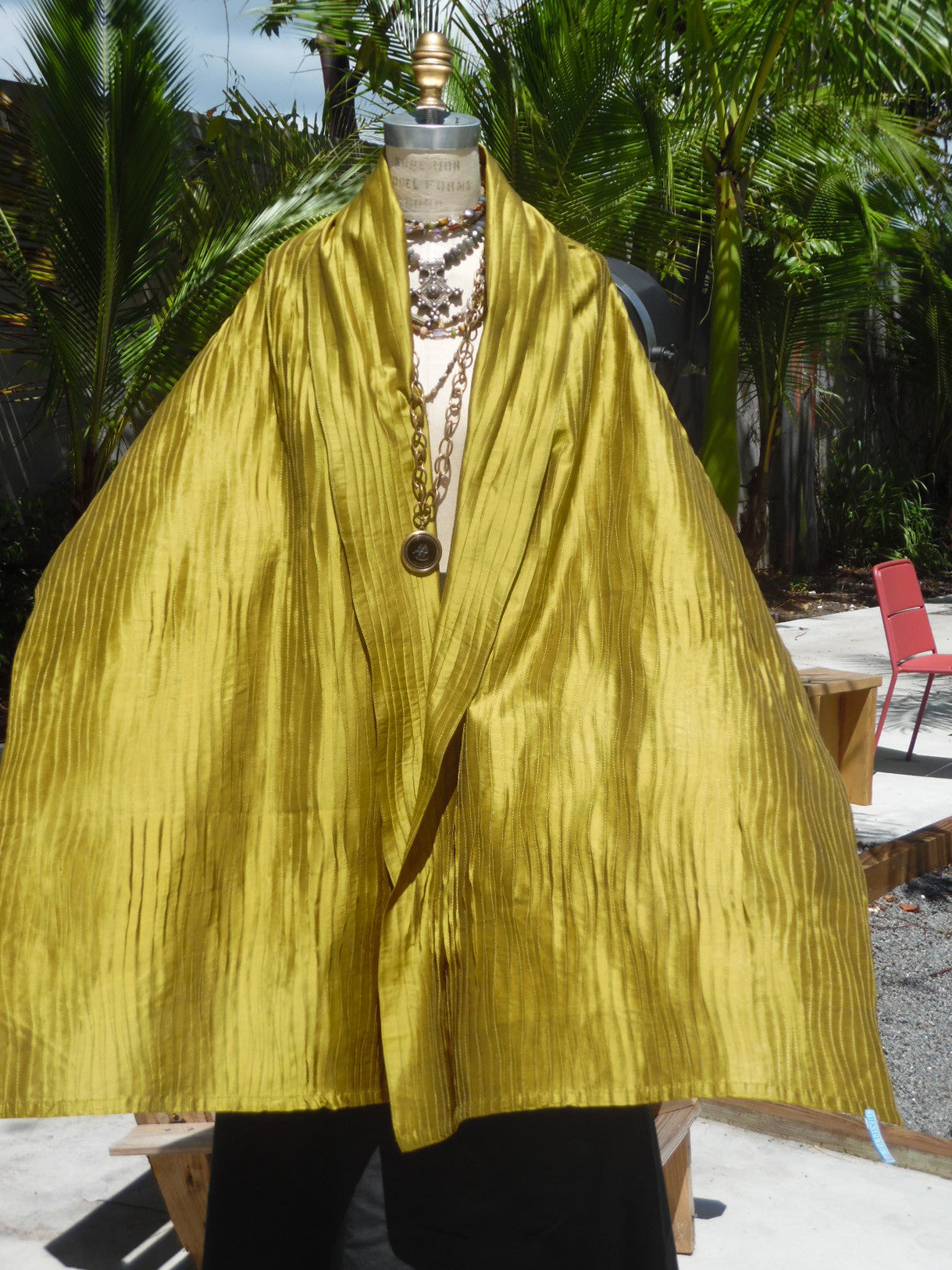 Thai Silk Pintuck Pleated Shawl Lemongrass