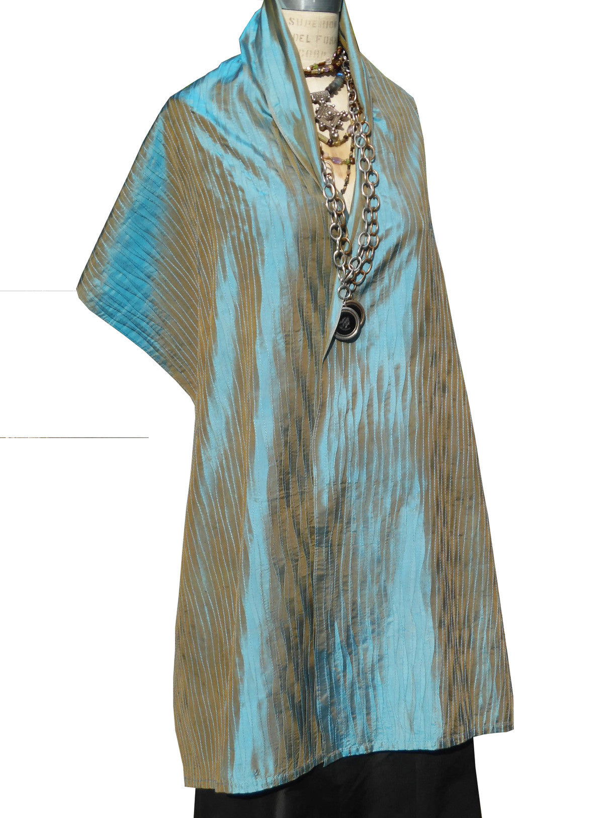 Thai Silk Pintuck Pleated Shawl Peacock