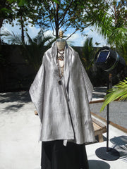 Thai Silk Pintuck Pleated Shawl Silver