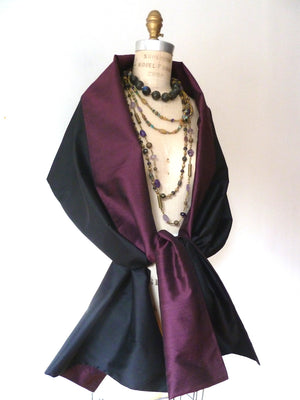 Double Sided Evening Shawl Black Champagne