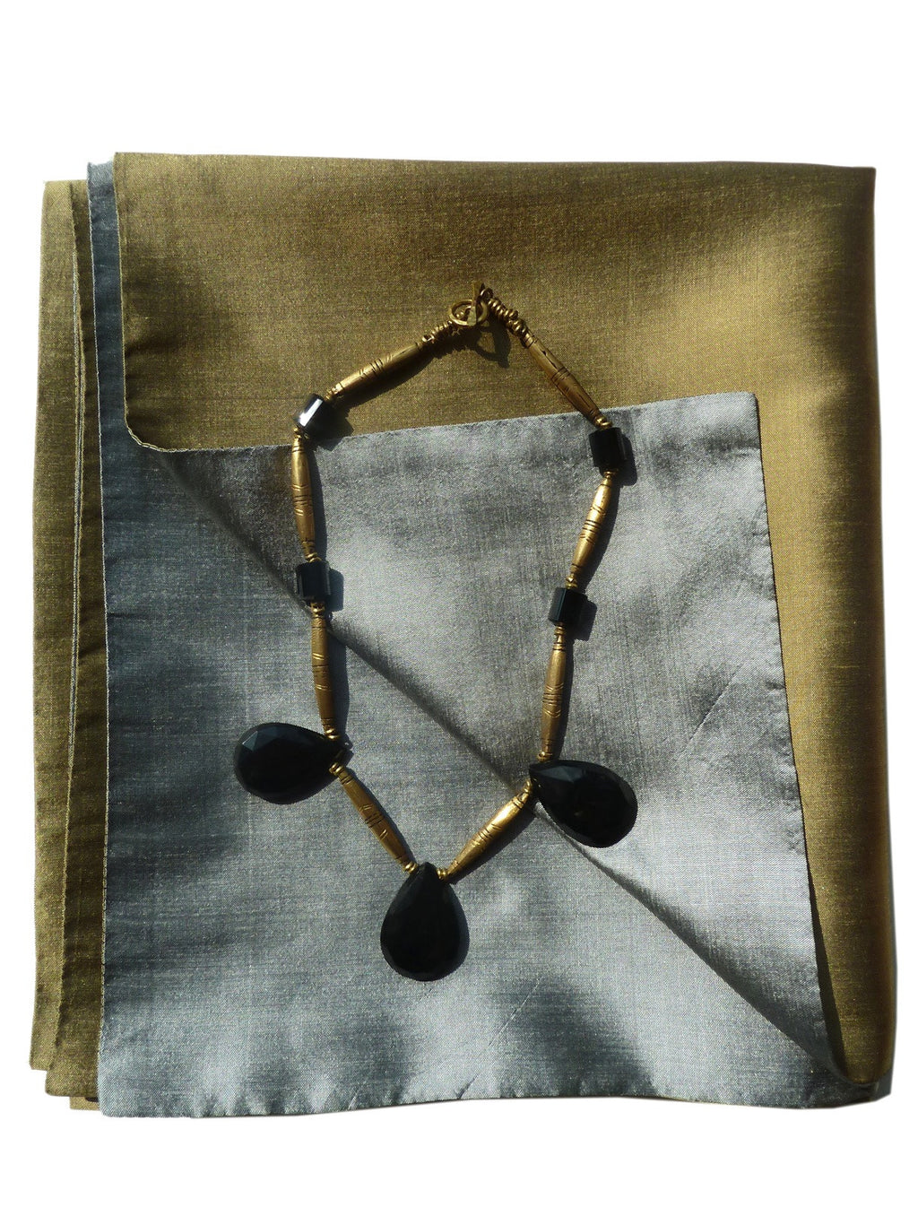 Double Sided Evening Shawl Silver Brass