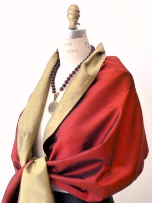 Double Sided Evening Shawl Brick Brass