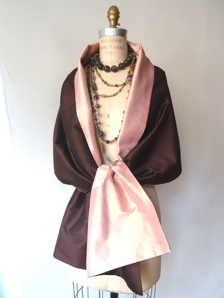 Double Sided Evening Shawl Eggplant Sand Pink