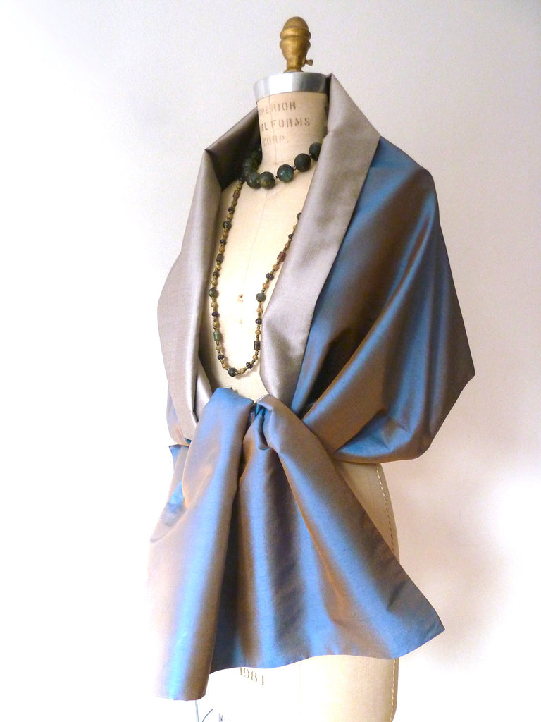Double Sided Evening Shawl Pewter Penny Blue