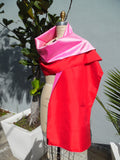 Double Sided Evening Shawl Red Candy Pink