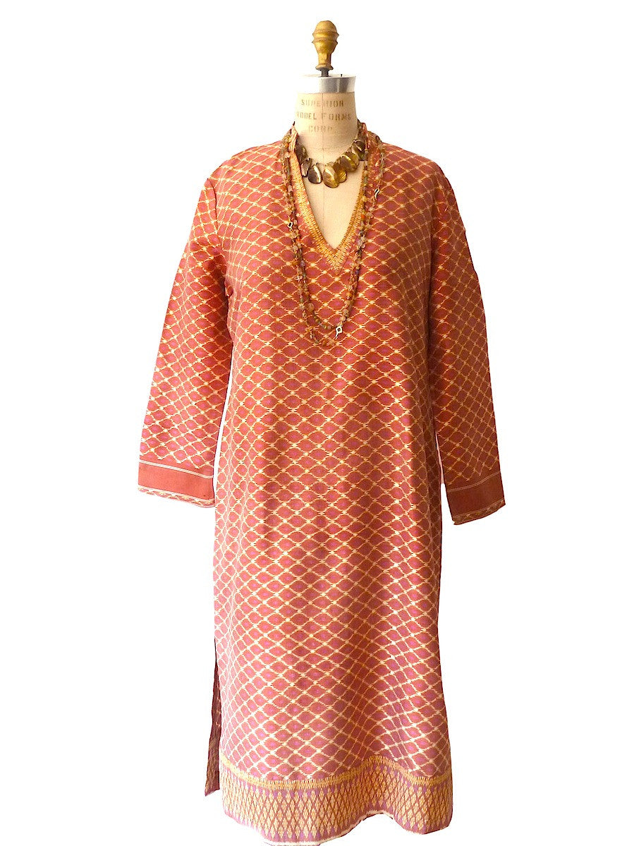 Silk Ikat Tunic Pink Terracotta One Of A Kind