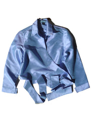 Thai Silk Taffeta Wrap Shirt Long Sleeve