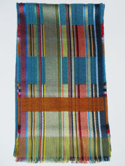 Scarf Silk Wool Colorblock Blue Multi