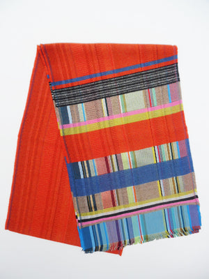 Scarf Silk Cashmere Colorblock Orange Multi