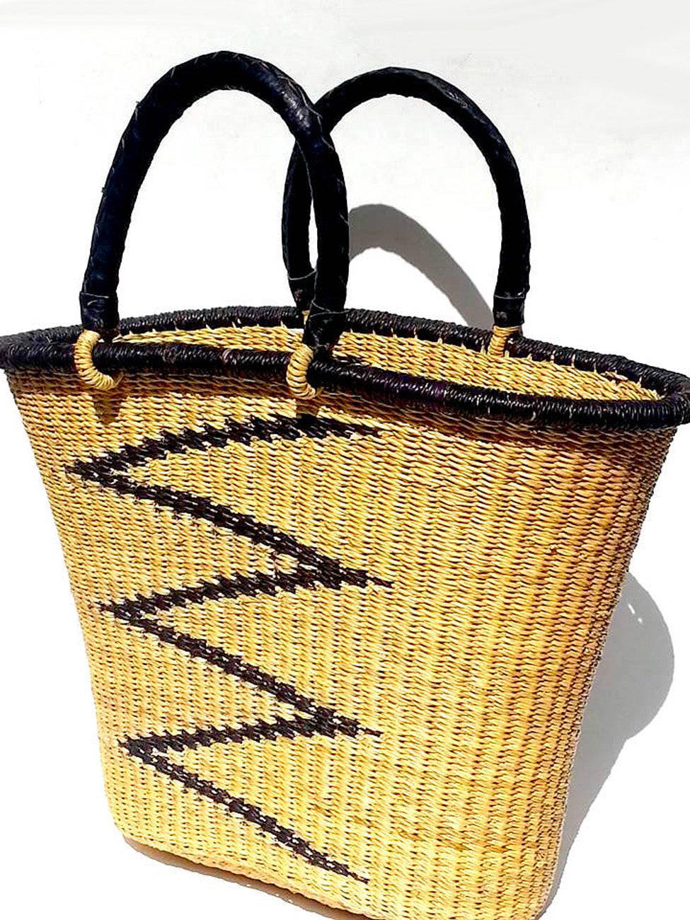 African Market Bucket Tote Bag Leather Handles