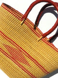 African Market Shopper Tote Bag Leather Handles